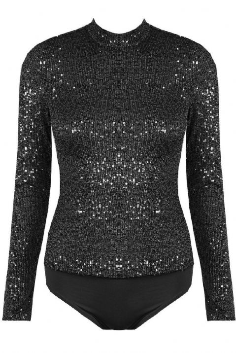 Victoria Sequin Mock Bodysuit Black